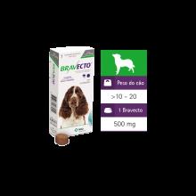 Antipulgas e Carrapatos Bravecto - Para cães de 10 à 20 KG - 500 mg